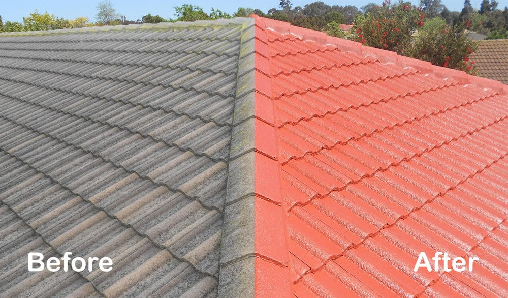 before after roof cleaning